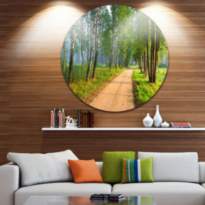 Design Art Road in Green Morning Forest LandscapePhoto Circle Metal Wall Art