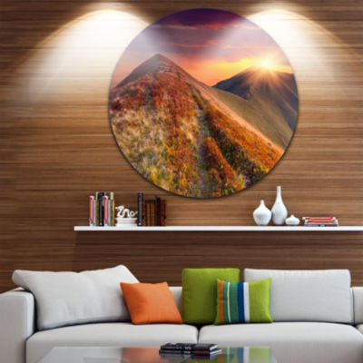 Design Art Autumn Hills with Colorful Grass Landscape Photography Circle Metal Wall Art