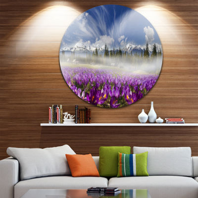Design Art Spring Flowers Crocuses Floral Photography Circle Metal Wall Art