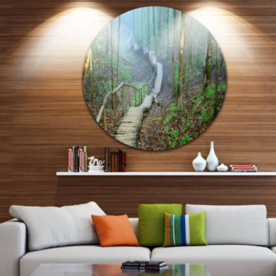 Design Art Stairway Leading to Foggy Forest CircleLandscape Circle Metal Wall Art
