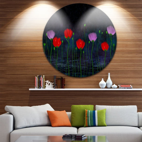 Design Art Rain and Flowers with Buds and Drops Floral Circle Metal Wall Art