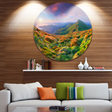Design Art Purple Sky and Green Mountains Landscape Photo Circle Metal Wall Art