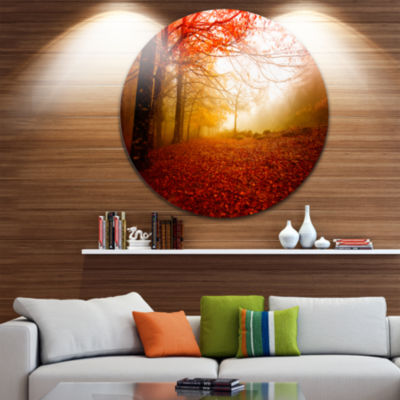Design Art Yellow Sun Rays in Red Forest LandscapePhotography Circle Metal Wall Art