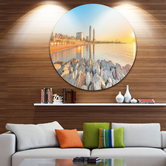 Design Art Barceloneta Beach in Barcelona SeashorePhoto Circle Metal Wall Art