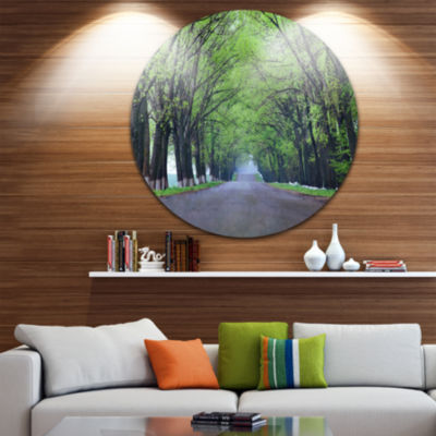 Design Art Arched Trees Over Country Road Landscape Photography Circle Metal Wall Art