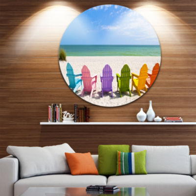 Design Art Adirondack Beach Chairs Seashore PhotoCircle Metal Wall Art