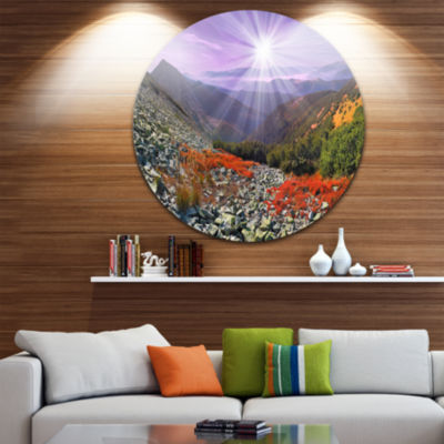 Design Art Rocky and Colorful Carpathian LandscapePhoto Circle Metal Wall Art