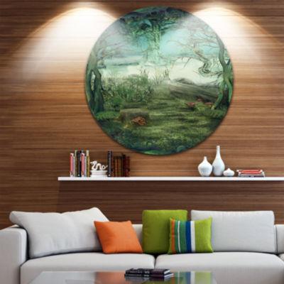 Design Art Green Forest Glade Landscape Circle Metal Wall Art