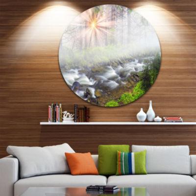 Design Art Foggy Carpathian with Sunlight Landscape Oversized Circle Wall Art