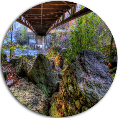 Design Art Large Rocks Under Bridge in Creek Landscape Photography Circle Metal Wall Art