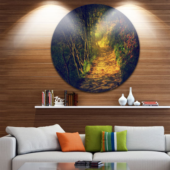 Design Art Autumn Forest Path in Sunshine Landscape Photography Circle Metal Wall Art