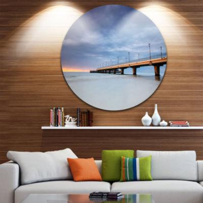 Design Art Long Concrete Pier into Sea Ultra Vibrant Sea Bridge Metal Circle Wall Art