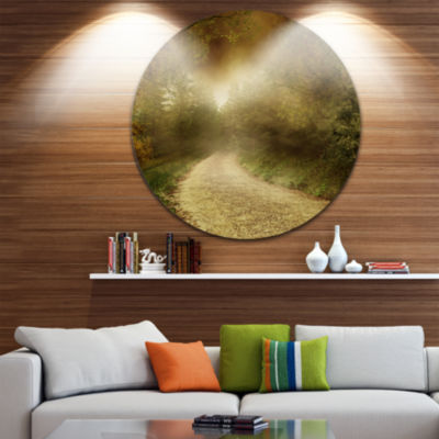 Design Art Country Road Through Fall Scenery Circle Landscape Circle Metal Wall Art