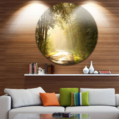 Design Art Bright Sunlight in Fall Forest Circle Landscape Circle Metal Wall Art