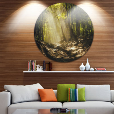 Design Art Sun Rays Through Green Trees LandscapePhotography Circle Metal Wall Art