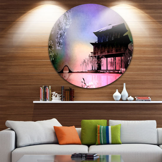 Design Art Rural Landscape with Flowers LandscapePainting Circle Metal Wall Art
