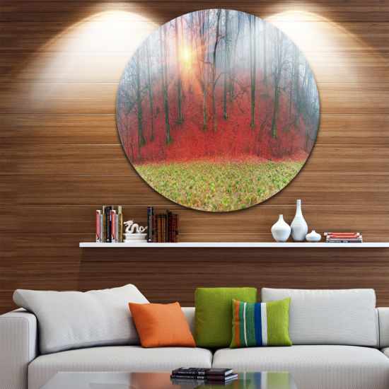Design Art Spring Flowers with Snowdrops Ultra Vibrant Landscape Oversized Circle Wall Art