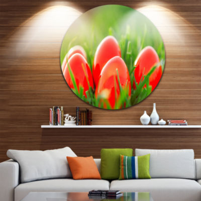 Design Art Red Easter Eggs in Green Grass Landscape Photography Circle Metal Wall Art