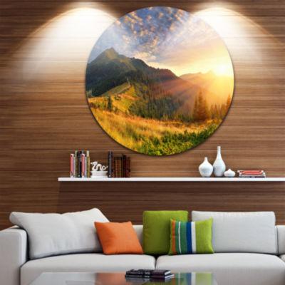 Design Art Summer Sunrise Under Thick Clouds Landscape Photography Circle Metal Wall Art