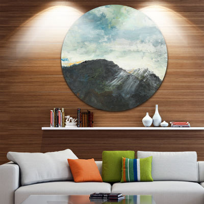 Design Art Mountain Peak Under Cloudy Sky Landscape Painting Circle Metal Wall Art