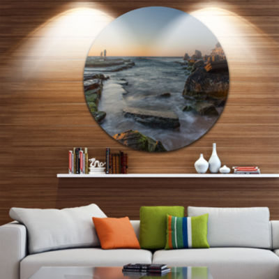Design Art Sydney Sunrise Over Seashore Ultra Vibrant Seascape Oversized Circle Wall Art