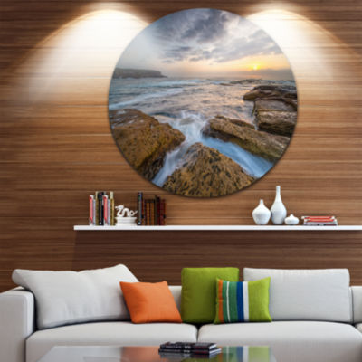 Design Art Bright Sydney Coastline View Ultra Vibrant Seascape Oversized Circle Wall Art