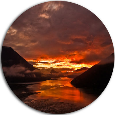 Design Art Sunrise in Cloudy Day New Zealand Landscape Photography Circle Metal Wall Art
