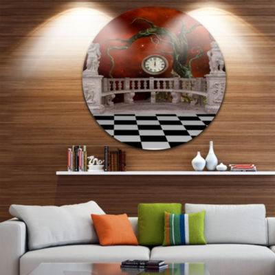 Design Art Balcony with Clock and Tree Angels Circle Metal Wall Art