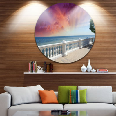 Design Art Stone Balcony with Ocean View SeashorePhoto Circle Metal Wall Art