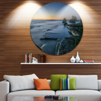 Design Art Sunrise at Sydney Seashore Ultra Vibrant Seascape Oversized Circle Wall Art
