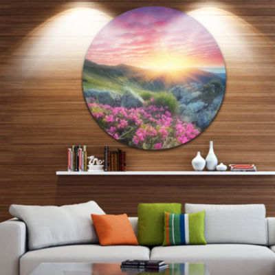 Design Art Morning with Flowers in Mountains Landscape Photography Circle Metal Wall Art