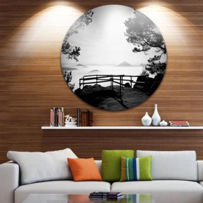 Design Art Full Moon Autumn Midnight in Black Landscape Photography Circle Metal Wall Art
