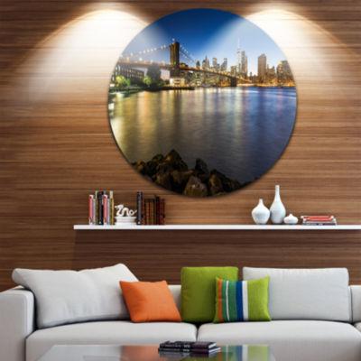 Design Art Distant View of Brooklyn Bridge Ultra Vibrant Cityscape Metal Circle Wall Art