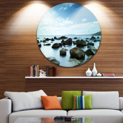 Design Art Sleeping Sea Under Blue Sky Landscape Photo Circle Metal Wall Art