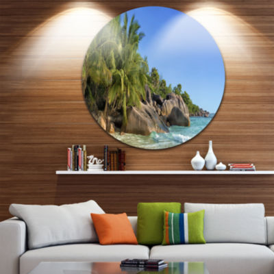 Design Art Anse Lazio Praslin Island Seychelles Ultra Vibrant Large Seashore Metal Circle Wall Art