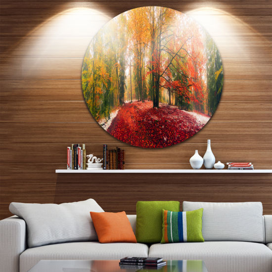 Design Art Alpine Forest After Snowfall LandscapePhoto Circle Metal Wall Art
