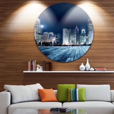 Design Art Blue Hong Kong City Skyline Ultra Vibrant Cityscape Metal Circle Wall Art