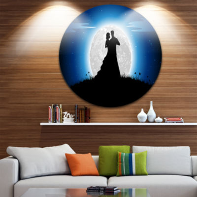 Design Art Couple Embrace in Night Romantic CircleMetal Wall Art