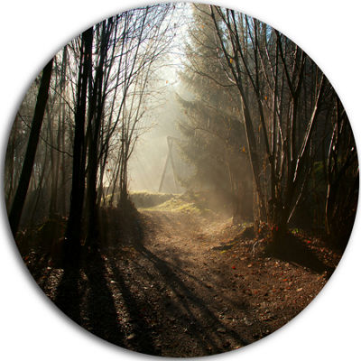 Design Art Dark Path in Fall Foggy Forest Landscape Oversized Circle Wall Art