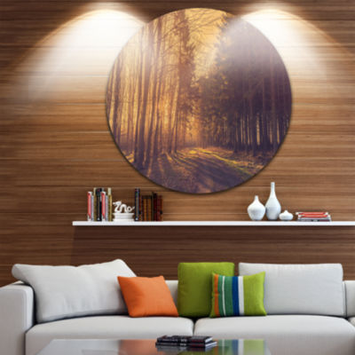 Design Art Pine Tree Forest by Road Landscape Photo Circle Metal Wall Art