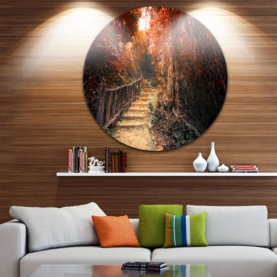 Design Art Stairway Through Red Fall Forest CircleLandscape Circle Metal Wall Art