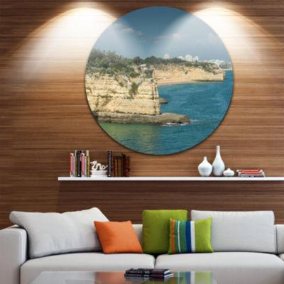 Design Art Armacao de Pera Algarve Beach Ultra Vibrant Seascape Metal Circle Wall Art
