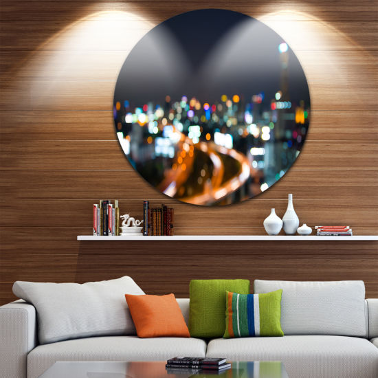 Design Art Bangkok City at Twilight Ultra VibrantCityscape Metal Circle Wall Art