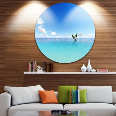 Design Art Blue Corals Island Sea Ultra Vibrant Seascape Metal Circle Wall Art