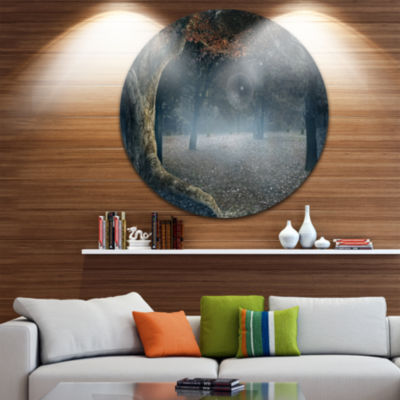 Design Art Big Trees in Dark Foggy Forest Circle Landscape Circle Metal Wall Art