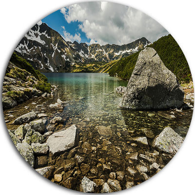Design Art Pond in Five Lakes Valley Ultra VibrantLandscape Metal Circle Wall Art