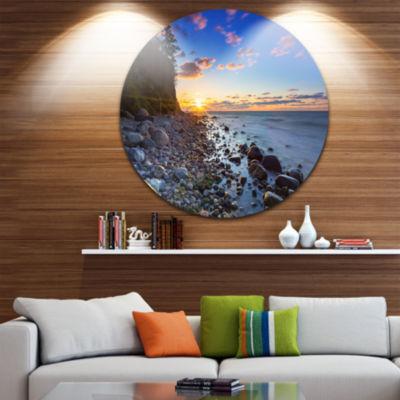 Design Art Baltic Sea and Orlowo Cliff at SunriseUltra Vibrant Seascape Metal Circle Wall Art