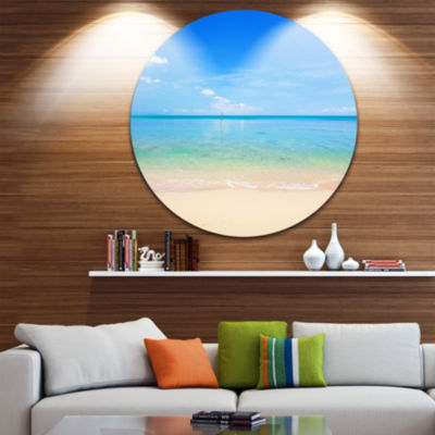 Design Art Calm Waves at Tropical Beach Seashore Photo Circle Metal Wall Art