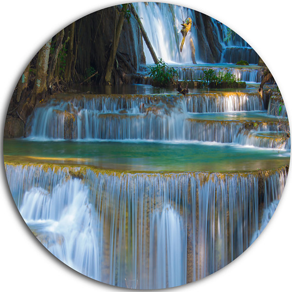 Design Art Deep Forest Waterfall Thailand Landscape Photography Circle Metal Wall Art
