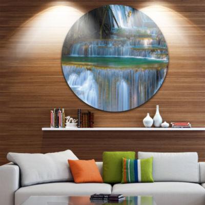 Design Art Deep Forest Waterfall Thailand Landscape Photography Circle Metal Wall Art